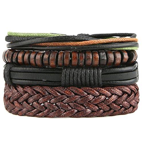 HZMAN Mix 4 Wrap Bracelets Men Women, Hemp Cords Wood Beads Ethnic Tribal Bracelets, Leather Wristbands (X)