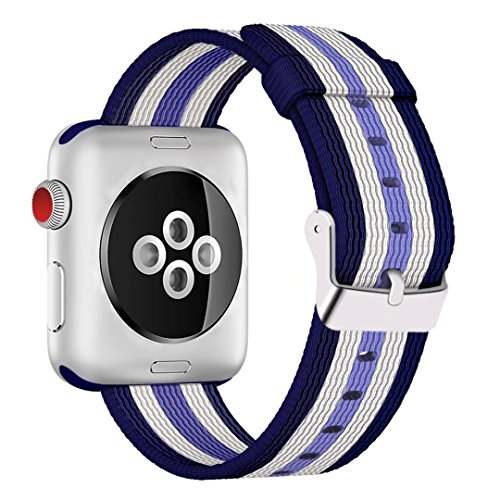 INTENY Newest Woven Nylon Fabric Wrist Strap Replacement Band with Classic Square Stainless Steel Buckle Compatible for Apple iWatch Series 1/2/3,Sport & Edition,38mm,Lilac White Darkblue Stripe