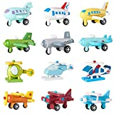 Dainey 12Pieces/set Wooden Mini Aircraft Complete Set Education Toys Kids Multicolor Helicopter Wooden Airplane Model Toys Baby Kids Gifts