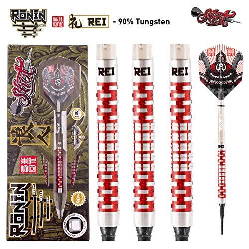 Shot! Darts Ronin Rei-Soft Tip Dart Set-18gm-Centre Weighted-90% Tungsten Barrels (20)