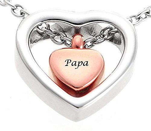 Stainless Steel Urn Necklace for Ashes Personalized Double Heart Charming Cremation Jewelry Urn Pendant with Free 21'' Long Chain Mini Funnel Filling Kits Beautiful Box (C-Papa)