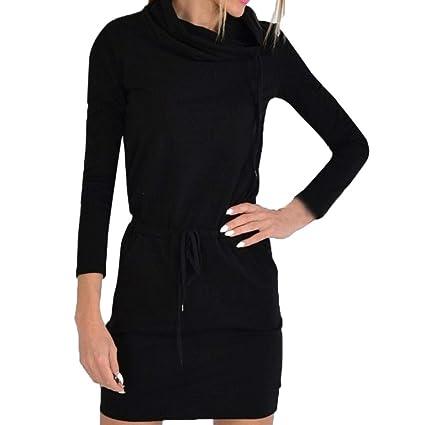 ZHRUI Mini Vestido de Noche Casual con Cuello Alto y con Cordones en el Bolsillo de