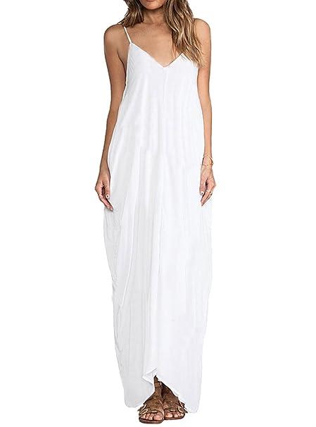 MEXI - Vestido largo de playa para mujer, cuello en V, espalda baja,
