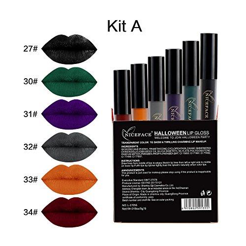 Coosa 6PCS Halloween Makeup Lipsticks, Waterproof Long Lasting Matte Liquid Lip Gloss Set For Lip or Face Makeup Cosmetic – Set (Best Type Of Makeup For Halloween)