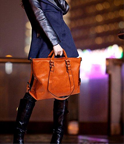 Brown Femme Grande Main Bandoulière Paris Orange classique Sac Moto Capacité À Cuir Huile Pu Hengsong fwHq77