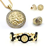 Chris Brown's Hip-Hop Bling Medusa Head Gold Tone 2 Chainz Pendant with Ring(Size 10), Earrings and Bracelet Set