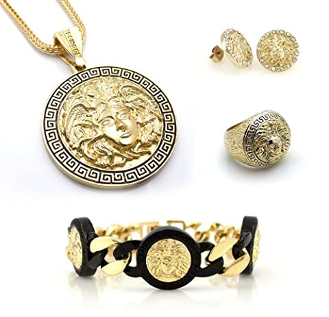 Chris Brown's Hip-Hop Bling Medusa Head Gold Tone 2 Chainz Pendant with Ring(Size 9), Earrings and Bracelet (Iced Out Brass Knuckles)