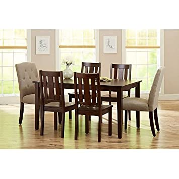 Amazon.com - Better Homes and Gardens 6-Piece Dining Set, Mocha ...