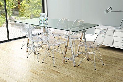 Cromado y vidrio medrek y plazas 6 mesa de comedor - AIRA: Amazon ...