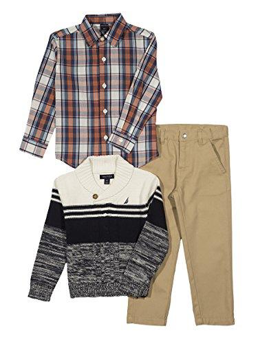 - Nautica Baby Boys' Shawl Sweater, Long Sleeve Shirt, and Twill Pant Set, Cream, 12 Months