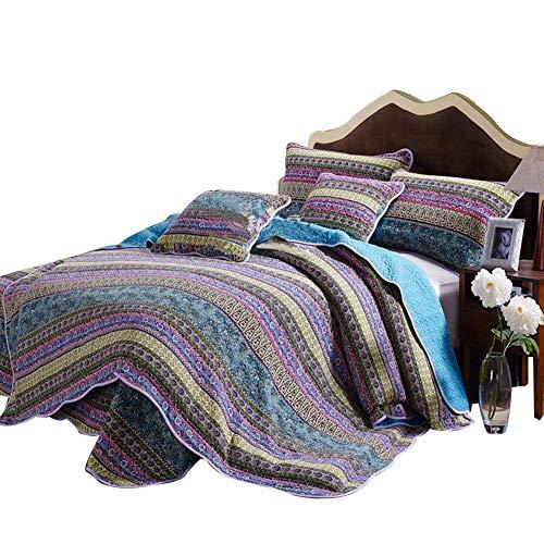 Queen Comforter Patchwork Quilt - Cotton Bedspread Striped 3 Pieces Sets Bohemian Style Blue -