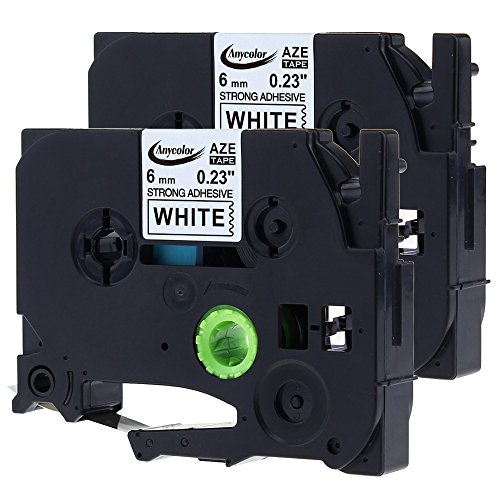 Anycolor 2 Pack Compatible Brother P-touch TZe Extra Strength Label Tape TZe-S211 TZ-S211 Laminated Black on White TZ Tape for for Brother P-touch Label Maker PT-D210 PT-D600 (1/4 x 26.2 6mm x 8m)