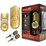 SimpliciKey SRCED-PB-2 Remote Control Electronic Deadbolt Door Lock, Polished Brass