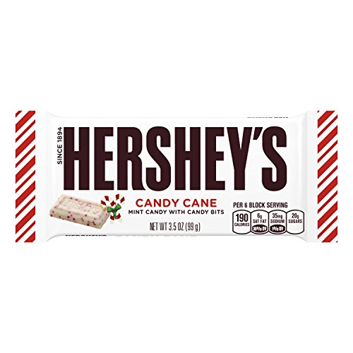 HERSHEY'S Candy Cane, White Crème Flavored Crème with Mint Candy Bits, Individually Wrapped Full Size Bar in Holiday Packaging, 3.5 Ounce Bar (Pack of 24) - Mint Candy Bars