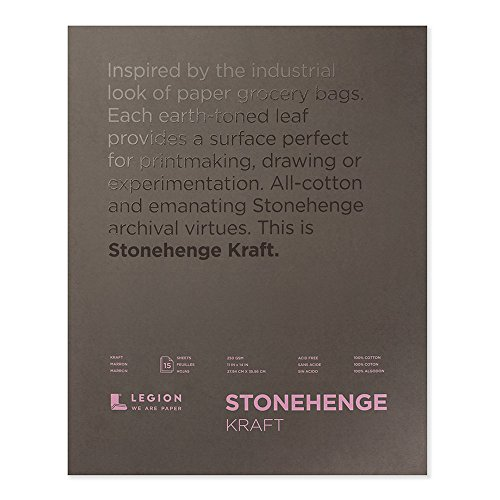 Legion Stonehenge Pad, Cotton Deckle Edge Paper, 11 X 14 inches, Kraft, 15 Sheets (Stonehenge Pad)