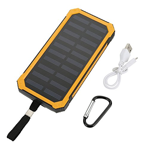Solar Charger, Portable 6 Pcs LED Light Solar Power Bank 20000mAh External Battery Pack Charger with Dual USB for Camping Travelling Emergency Outdoor Activities (Yellow)