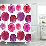 Pink and Purple Polka Dot Shower Curtain Emvency Shower Curtain Waterproof Adjustable Polyester Fabric Wine of Polka Dots The Pattern Watercolor Pink Burgundy Purple Berry Jam Beads 66 x 72 Inches Set with Hooks for Bathroom