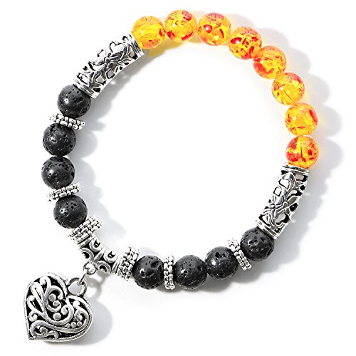 Me&Hz Chakra Healing Bracelet Stretch 8mm Amber Lava Stone Diffuser Bracelet Energy Stone Bracelets with Heart Charm Gifts for Women