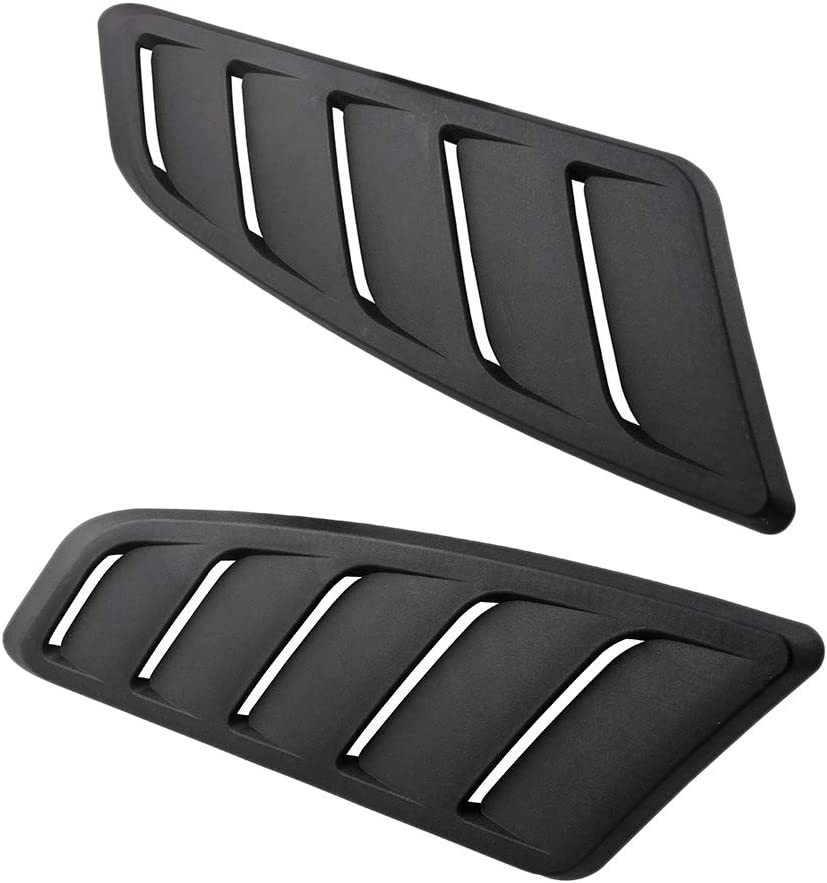 Iycorish 2PCS Universal Car Front Engine Cover Panels Air Flow Vent Cover Car Roof Decorative Intake Hood Scoop Black ABS