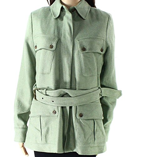 (Lauren Ralph Lauren Womens Front-Zip Tweed Jacket Green 12)