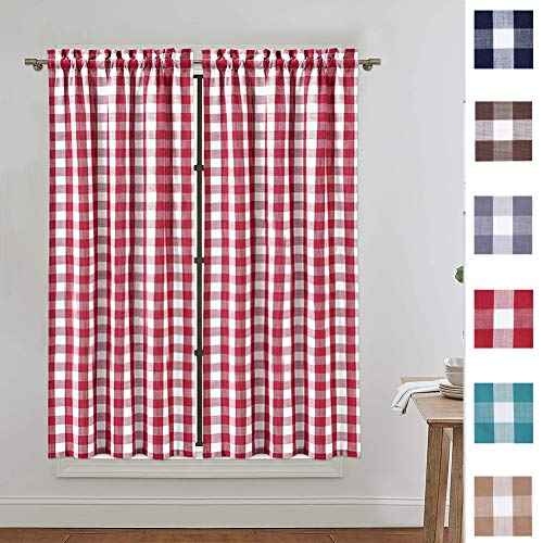 red and white window curtains - 4