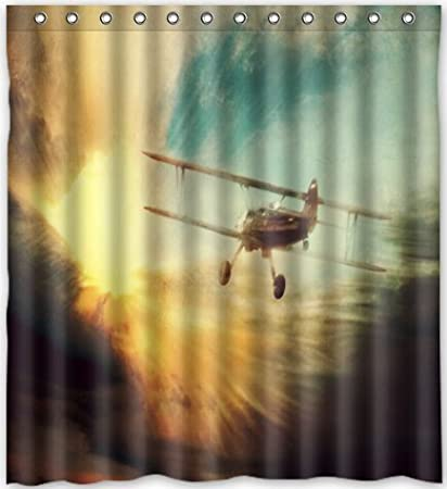 Amazon Popular Design Airplane Shower Curtain 66w X 72h