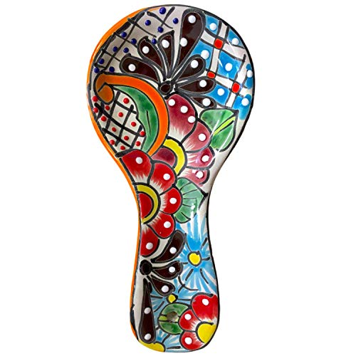Colorful Kitchen Ceramic Spoon Rest - Hand Painted - Mexican Style Cuchara ()