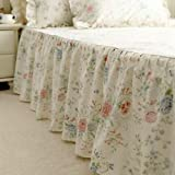 Swanlake Shabby and Elegant Style Creamy Multi-color Ruffle Bed Skirt 1203 (Queen)