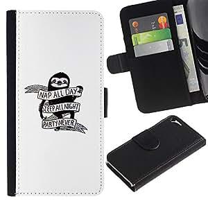 LECELL--Cuero de la tarjeta la carpeta del tirón Smartphone Slots Protección Holder For Apple Iphone 5 / 5S -- Nap Todo el día - Funny Pereza --