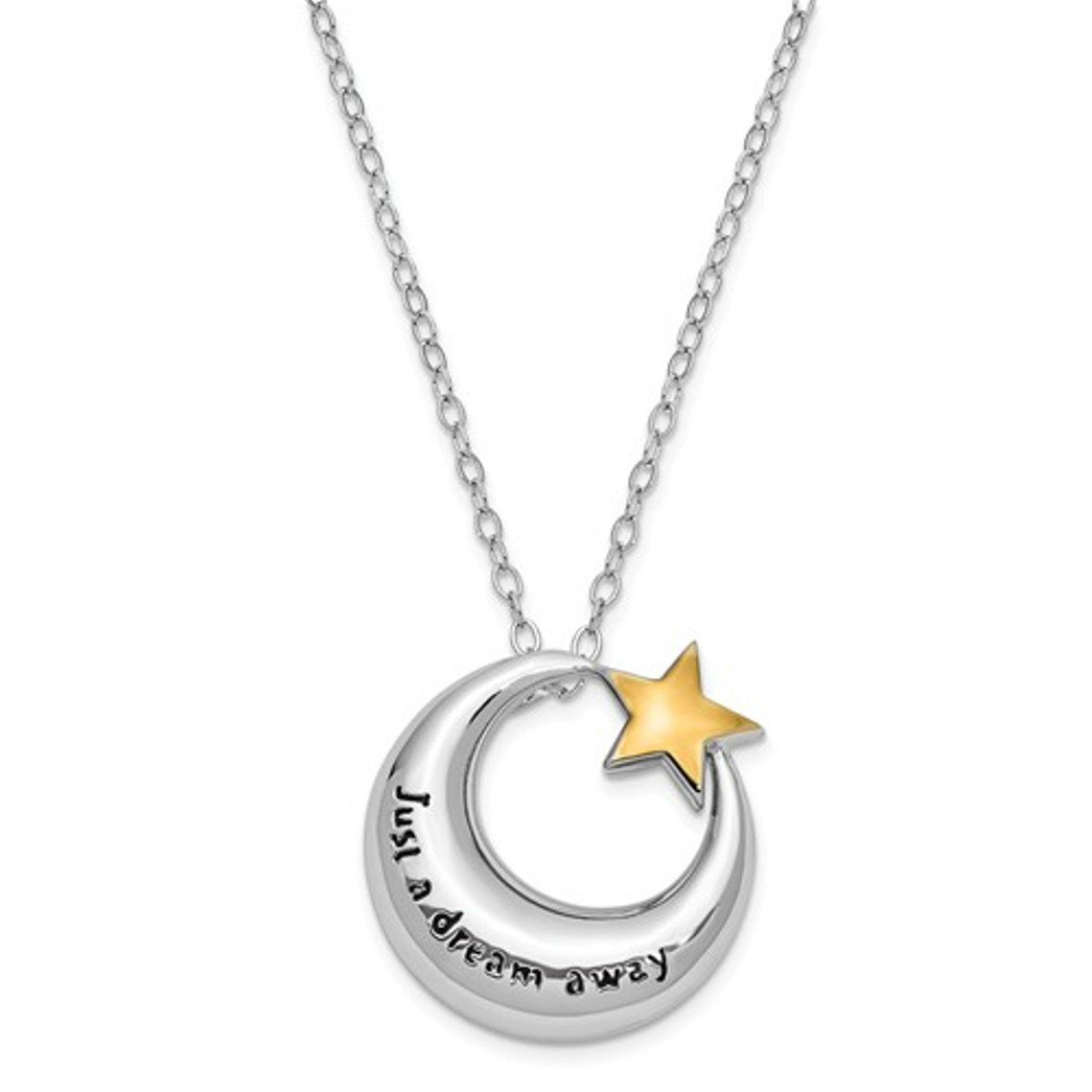 Sterling Silver Moon & Star Just A Dream Away Cremation Urn Ash Holder Necklace