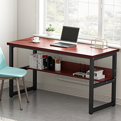 Tribesigns 55 Inches Computer Desk with Bookshelf Works as Office Desk Study Table Workstation for Home Office (55