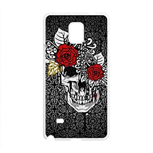 Creative Red Flowers Skull Custom Protective Hard Phone Cae For Samsung Galaxy Note4