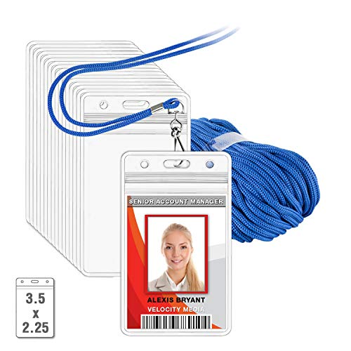 (MIFFLIN Lanyard with Vertical ID Holder (Royal Blue Non-Breakaway Cord, 3.5x2.25 inch Card Holder, 6)