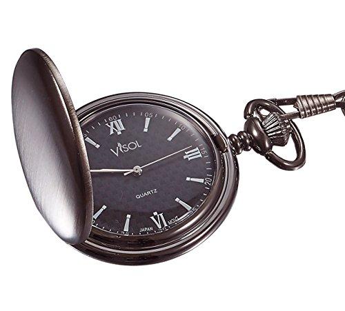 Mens Personalized Metal Watch (Personalized Visol Benson Brushed Gunmetal Pocket Watch with Free Engraving)