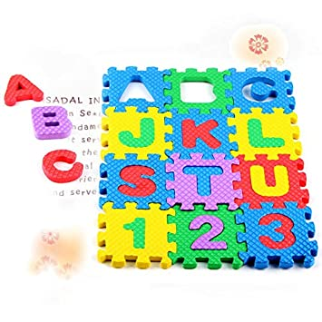 Drawoz 36 Pcs Baby Alphabet Number Educational Puzzle Foam Mats Blocks Toy Crawling Mats