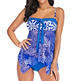 Ladies Two Piece Bathing Suits Shorts Slimming Swimwear Tummy Control Bow Skirt Swimsuit (M, Blue,)