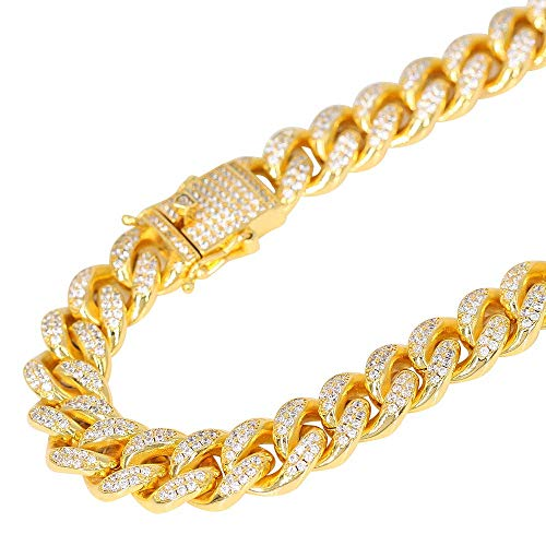 TRIPOD JEWELRY 12mm 18K Gold Hip Hop Iced Out Miami Cuban Link Chain for Men (8.5, 12mm 18K Gold) ()