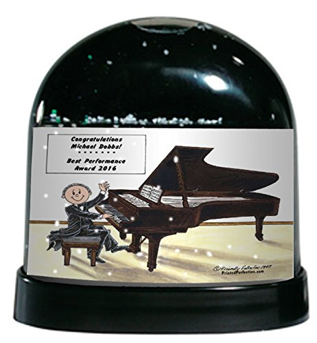 Personalized Friendly Folks Snow Globe Gift: Piano Player - Male Great for Recital, Performance, Award (Players Piano Great)