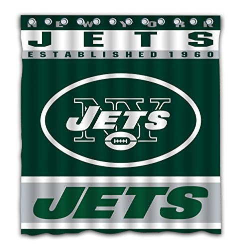Potteroy New York Jets Team Design Shower Curtain Waterproof Mildew Proof Polyester Fabric 66x72 ()