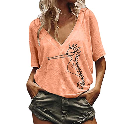 【HebeTop】 Women's Printed Short Sleeve V Neck Casual Loose Tunic Blouse Shirt Pink