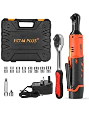 NOVAPLUS 3/8 Inch Cordless Ratchet Wrench 12V Power Right Angle Electric Ratchet Wrench with 2000mAh Rechargeable Lithium-Ion Battery and Charger