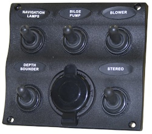 (5001560 SeaSense 5 Gang Toggle Switch Panel with 12V Outlet)