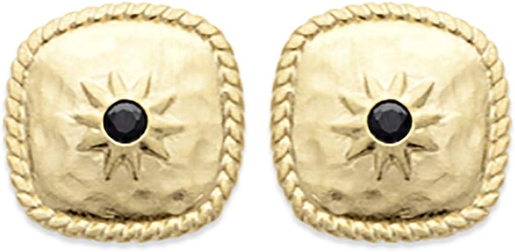 Tata Gisèle - Pendientes chapados en oro de 18 quilates, cuadrados martillados con estrella y ágata negra, bolsa de regalo de terciopelo