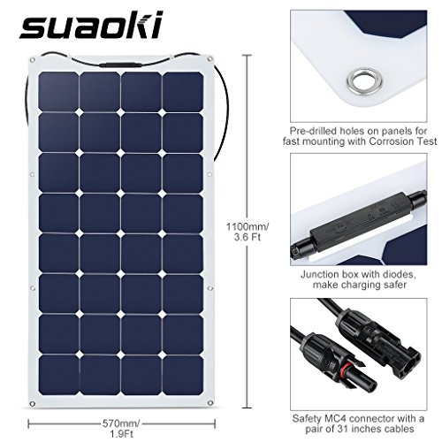 Suaoki-100W-18V-12V-Solar-Panel-Charger-SunPower-Cell-Ultra-Thin-Flexible-with-MC4-Connector-Charging-for-RV-Boat-Cabin-Tent-CarCompatibility-with-18V-and-Below-Devices