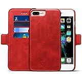 SINIANL iPhone 6 6S 7 8 X Plus Leather Wallet Case Flip Folio Magnetic Detachable Kickstand Card Holder