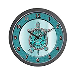 CafePress - Turtle In Turquoise - Unique Decorative 10 Wall Clock