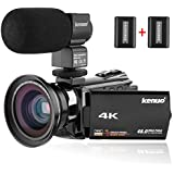 Kenuo 4K Camcorder, 48MP Portable Ultra-HD 60FPS WiFi Digital Video Camera 3.0' Touch Screen IR Night Vision Camcorder with External Microphone and Wide Angle Lens