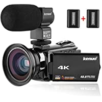 Video Camera 4K Camcorder, Kenuo 48MP Portable Ultra-HD 60FPS WiFi Digital 3.0' Touch Screen IR Night Vision Camcorder with External Microphone and Wide Angle Lens
