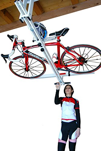 flat bike lift the new overhead rack to store the bikes. Black Bedroom Furniture Sets. Home Design Ideas