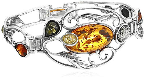 Multicolor Amber Sterling Silver Bangle Bracelet